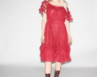 Vintage 1980s Gypsy Boho Dress  -  Vintage Red Lace Dress - WD0266