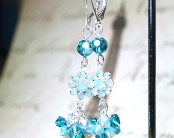 ON SALE - Aqua Blue Floral Crystal Earrings - Swarovski Crystal Cluster Earrings - All Sterling Silver with Leverbacks - Springtime Earrings