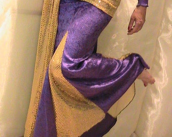 Bellydance trumpet skirt, mermaid skirt set in purple velvet and sparkling gold dot metallic with hip scarf and gauntlets