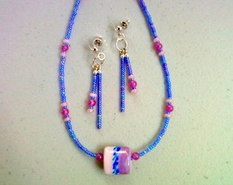 Fuschia, Blue and Pink Necklace and Earrings (0206)