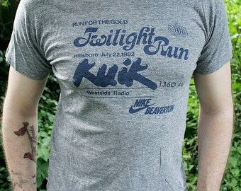 1980's NIKE - 1982 Twilight Run - orange swoosh triblend heather grey collector running marathon unisex t-shirt - men's sz M/L