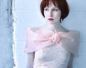 Peach Tulle Prom dress Brocade Princess Dress - Pink salmon full skirt Prom dress size XS, girls dress, Party dress