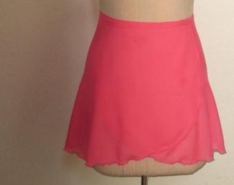 Coral chiffon wrap ballet skirt