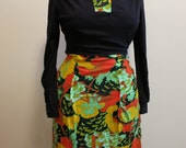 Dress black orange knit MOD Asian floral green by NPC Fashions L
