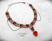 Ruby Heart Victorian Necklace,  Valentine Choker, Red Jewel Necklace, Victorian Jewelry