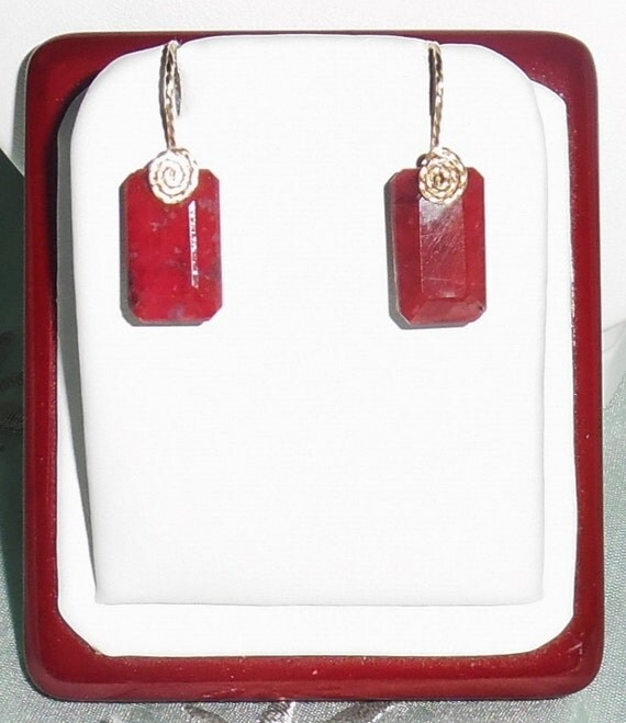 28 cts Natural Octagon cut Red Ruby gemstones, 14kt yellow gold Pierced Earrings