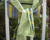 Blue, Yellow with Citrus Silk Dupioni Wrap