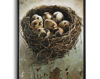 Large Bird Nest Art Print, Birds Nest Canvas Print, Modern Farmhouse Wall Decor, Nest with Eggs Picture, Nature Paintings
