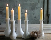 5 Vintage Milk Glass Vases / Candle Holders - No. 2