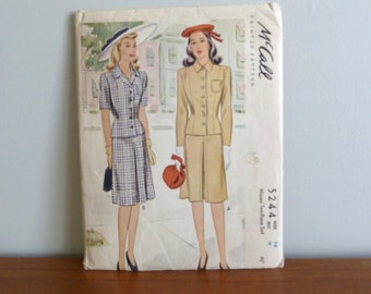 1943 Pattern - Misses' Two Piece Skirt Suit Long or Short Sleeves - McCall Printed 5244 - Size 16 - Vintage 1940's Sewing Pattern - 34-28-37