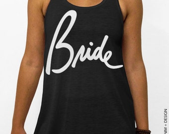 Bride - Script - Black with White Flowy Racerback Tank Top