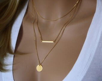 Monogram Gold Layering Necklace, Layered Necklace Skinny Bar Stacking Necklace Stacked Necklace Layer Necklace Multi Strand Bar Necklace 032