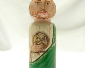 Saint Jude the Apostle Wooden Doll - Catholic Saint Wooden Peg Doll Toy - made to order
