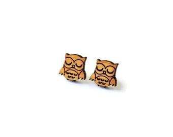 Wood Owl Studs, Laser Cut Wood Studs, Owl Earrings, Owl Studs, Small Studs, Surgical Steel Studs, Animal Studs, Wood Earrings