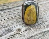 Yellow Jasper Ring, Size 8, Heavy Sterling Silver Statement Ring, Eclipse Jasper, Modern Ring, Lotus Flower, Rectangular, Cocktail Ring