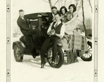 "Vintage Photo ""Most Enjoyed Day"" Snow Snapshot Photo Old Antique Photo Black & White Photograph Found Photo Paper Ephemera Vernacular - 153"