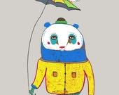 Beautiful nursery decor art print for nursery, kids art, baby boy, toddler, original illustration. - ''Panda with Umbrella''.