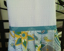 Hand Towel in Turquoise Yellow & Gray Paisley Tea Towel, A Splash of Turquoise Geometric Fabric, Cottage Tea Towel for Kitchen or Bathroom