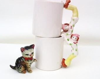 Vintage Kids Mugs | Figurine Mugs | Kids Cups | Clown Coffee Mugs |  Tea Mugs | Figurine Handles  - Set of 2
