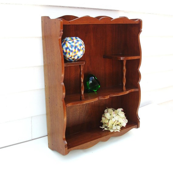vintage wall mounted shelf wooden curio display stand knick. Black Bedroom Furniture Sets. Home Design Ideas