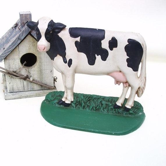 Vintage Cast Iron Door Stop Cow Doorstop Metal Farm Animal