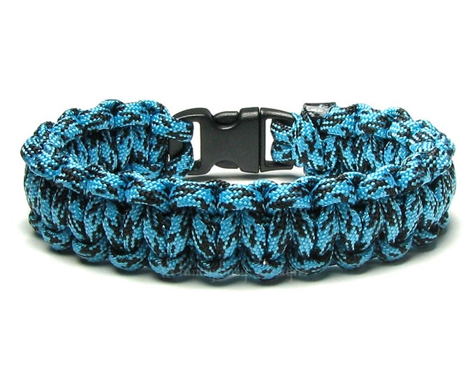 Paracord Bracelet Turquoise Black Survival Accessory Military Veteran Gift For Men First Responders Hiking Hunting Gear Camping Boy Scouts