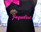 Leopard Chef Hat Apron Monogrammed Name or Initials