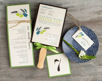 """Brewery Wedding Menu, Table Numbers, Favor Tag, Ceremony Fans, Customizable Wording, Colors, Fonts - """"Hops Love"""" Stationery Deposit"""