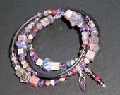 Purple and Pink Stone Bracelet