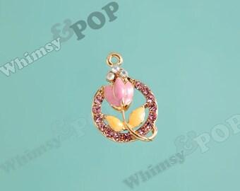 1 - Gold Tone Pink Tulip Flower Crystal Rhinestone Pendant Charm, Flower Charm, Tulip Charm (3-5C)