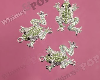 1 - Green Crystal AB Rhinestone Frog Pendant Charm, Frog Charm, 29mm x 21mm (4-1B)