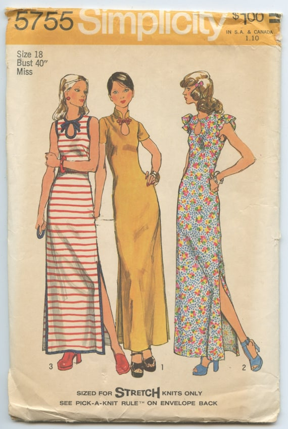 Knit Maxi Dress Pattern : 1970s Simplicity 5755 Sleeveless Maxi Dress for Stretch Knit