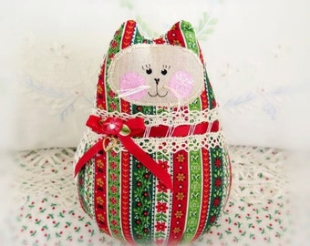 Christmas Cat Doll 6 inch Free Standing Kitty, Red Green Stripes Print, Soft Sculpture Doll Primitive Handmade CharlotteStyle Decorative