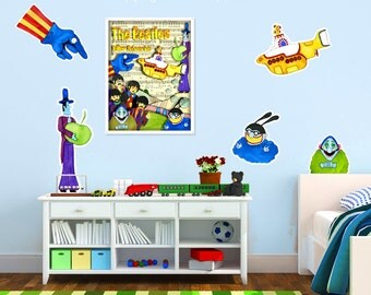 Wall Decals Yellow Submarine Nursery Boys Room Removable Durable Vinyl Fabric