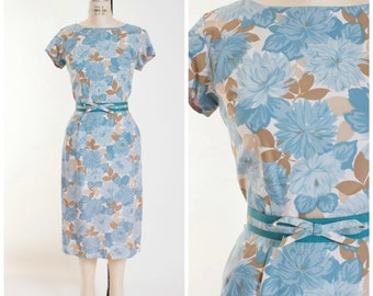 1950s Vintage Dress Blue Brown Cream Floral 50s Sheath Dress Size Medium