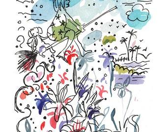 Small Watercolor Original art. Original Artwork. Children Illustration. Original watercolor. Childrens art original. Small original painting