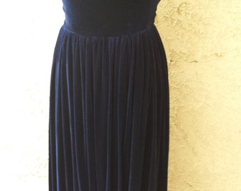 Beautiful Midnight Blue Velvet  Dress