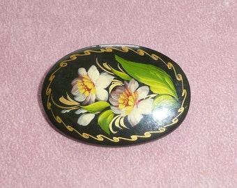 Hand Painted Flower Brooch Signed