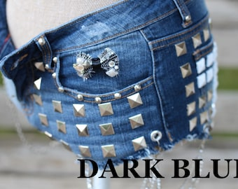 Custom Distressed Dark Blue High Waisted Studded Denim Shorts with Chains