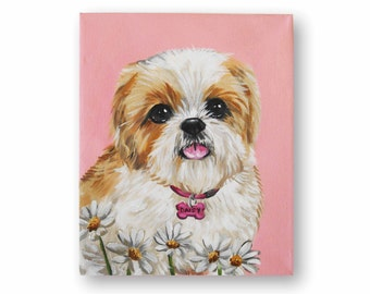 "8x10"" Custom Dog Portrait Acrylic - 1 Pet Solid Background Wrapped canvas Original Painting Pet Memorial Shih Tzu Western Terrier Art"