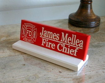 Desk Name Plate Personalized Desk Name Sign Fire and Police With YOUR LOGO Co-worker Gift  Engraved