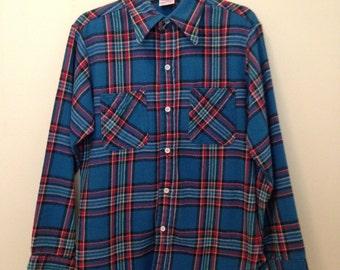 90s Grunge Heavy Plaid Flannel Shirt