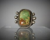 Vintage Navajo Ring Green Turquoise Silver Size 11 Natural Turquoise Navajo Tribe Jewelry DanPickedMinerals