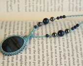 Labradorite and Lapis Lazuli Macrame Necklace - stone for dreamers