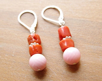 Natural Coral Earrings Dangle Earrings Red Coral Pink Coral Sterling Silver Lever Back Coral Bridesmaid Earrings Wedding Jewelry