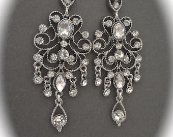 Brides earrings ~ Crystal chandelier earrings ~ Antiqued, Victorian, Vintage style, Crystal, Wedding earrings, Gorgeous Bridal jewelry