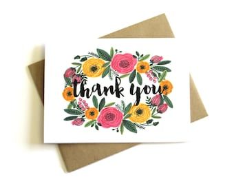 Floral Thank You Cards (Set of 5) - Thank You Notes, Thank You Cards Set, Floral Note Cards, Stationery, Blank Cards, Flower Thank You Cards