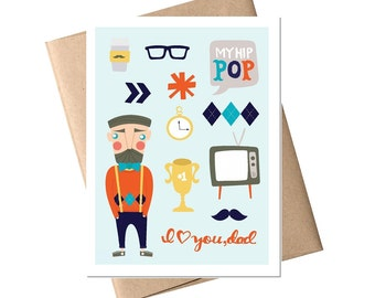 Father's Day Card - 'I Love You Dad', Dad Card, Father Card, Birthday Card, Dad Birthday, Father's Day, Greeting Card