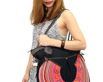 Large Size Bag With Leather Strap Vintage Hmong Fabric Fair Trade Thailand (BG360.6)