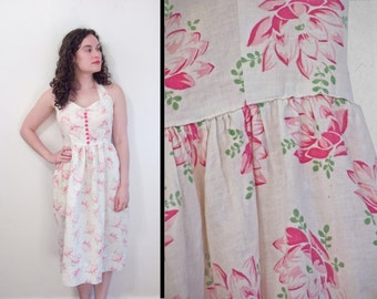 LOTUS Blossom Dress // 1940s Handmade Halter // Peony Sweetheart Neckline Medium Pink White Green